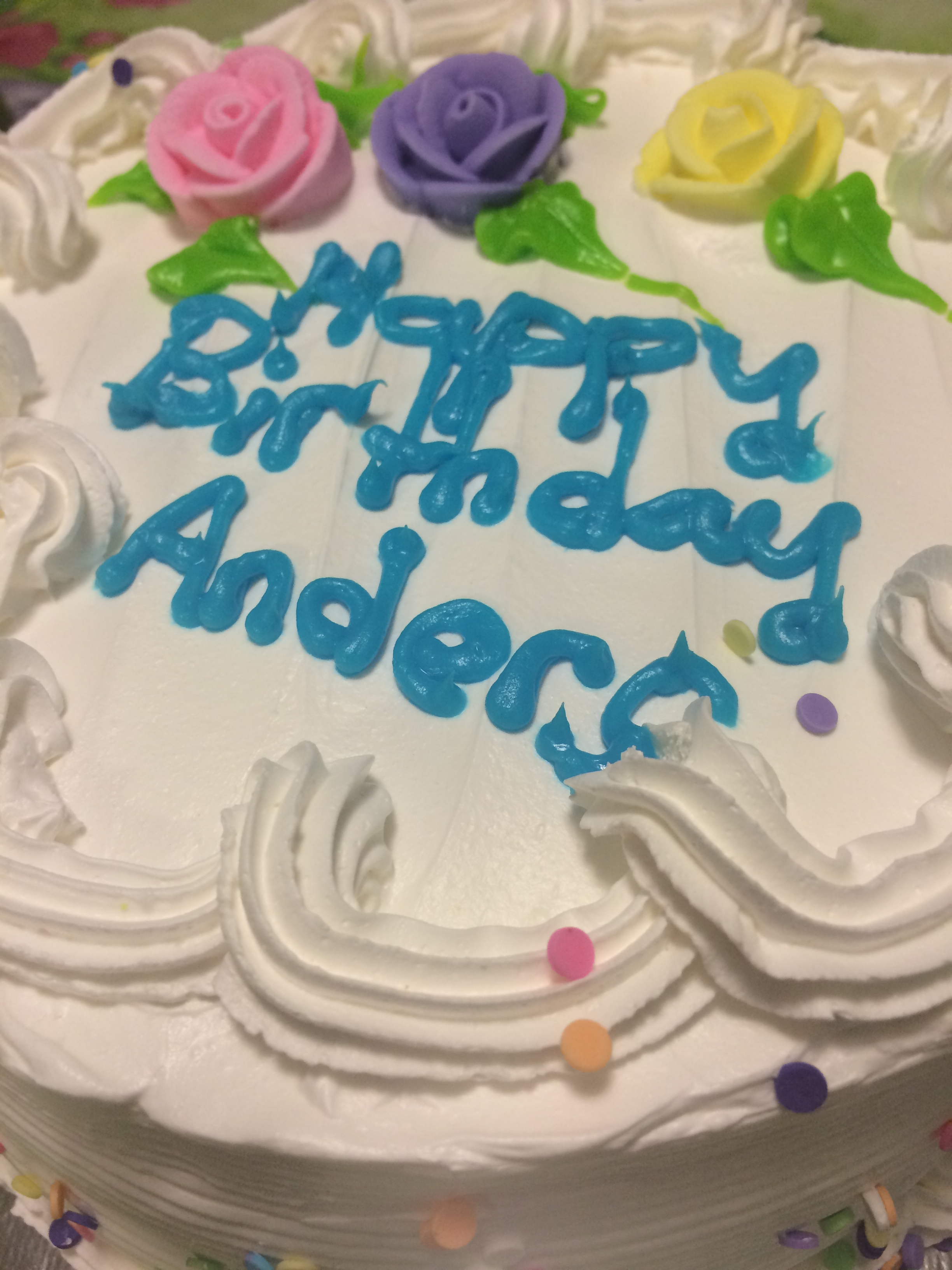 Anders hates having his picture taken, so this is his cake
