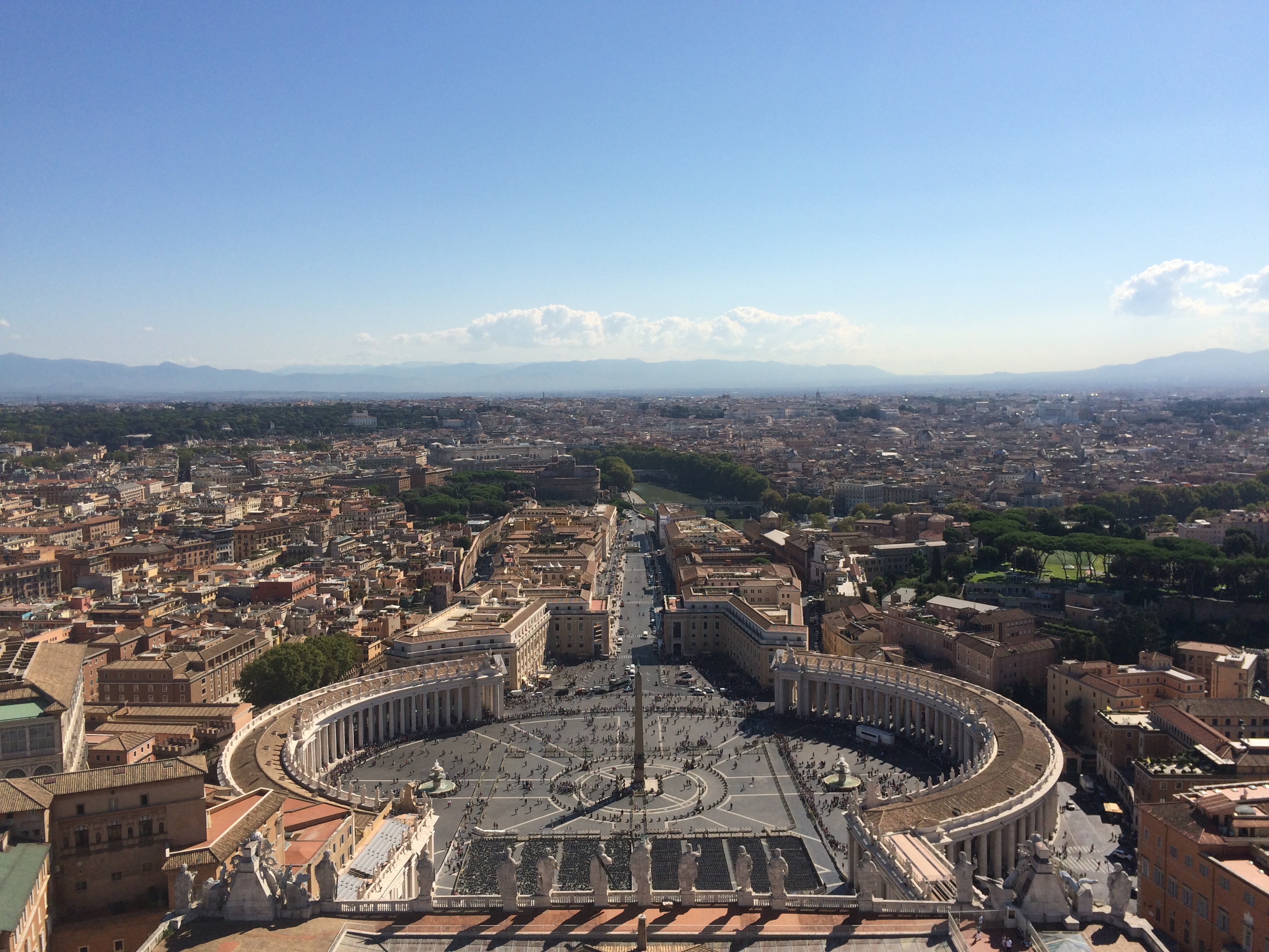 More than 500 steps for this view. View of St. Peter's square from the Basilica Dome
