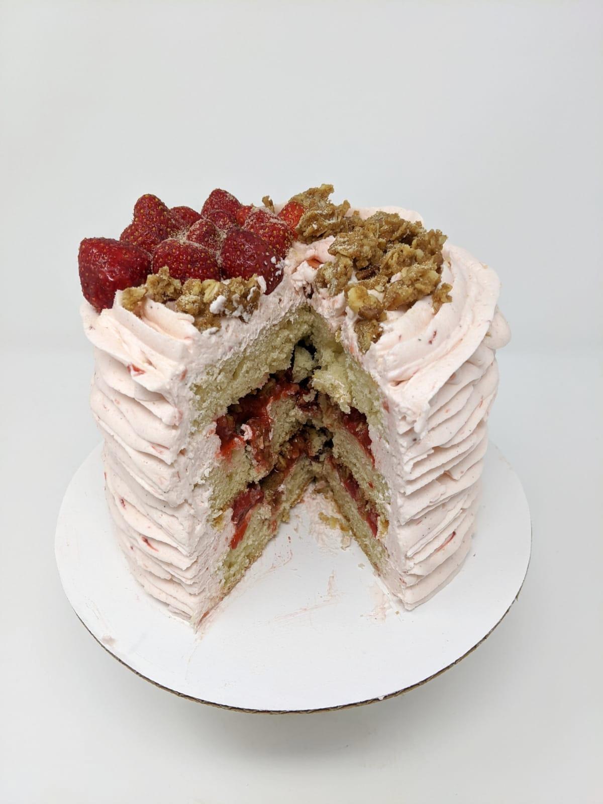 Vegan Strawberry Rhubarb Crumble Layer Cake Cut